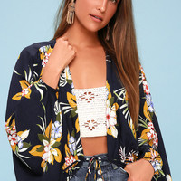 Carey Navy Blue Tropical Print Tie-Front Kimono Top