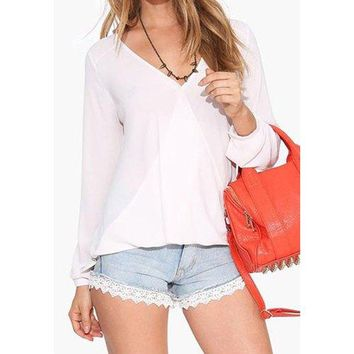 Stylish Plunging Neck Long Sleeve Solid Color Women's Blouse