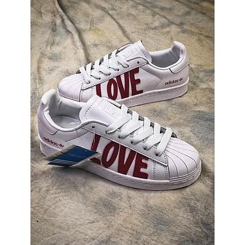 Adidas SUPERSTAR 80s HH W Love AQ6168 White Red Shoes - Sale