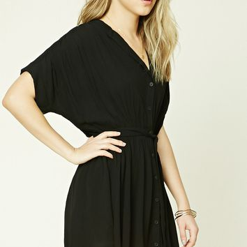 Belted Shirred Dress