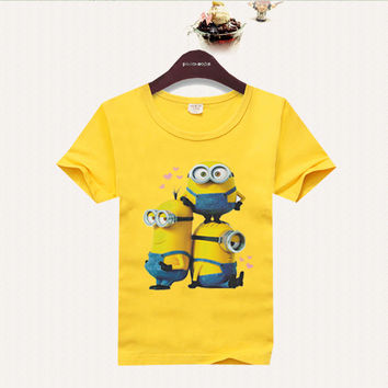 2016 children t-shirts boys tops and tees Baby girls t shirts boy clothes kids t shirt summer style despicable me minion cartoon