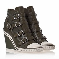 Womens Thelma Wedge Sneaker Military Leather 330285 (350)