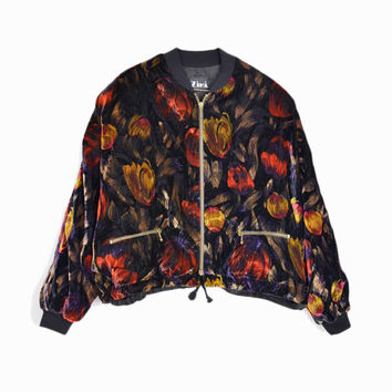 Vintage 80s Cropped Velvet Tulip Jacket - Baggy Jacket - women's small
