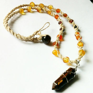 Tigers Eye, Baltic Amber, Onyx Bead, Hemp Necklace, Crystal Necklace, Natural Stone, Healing Jewelry, Crystal Pendant, Gemstone Necklace