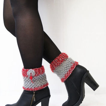 Winter discount sales Gray Red Boot Cuffs, Knitted Boot Cuffs, Knitting Leg Warmers, Cuffs, Accessories, Winter Boot Toppers, Boot Socks, Ch