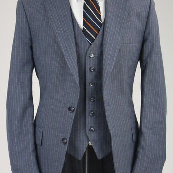 Vintage Botany 500 Charcoal Pinstripe Wool 3 Piece Suit 40 R