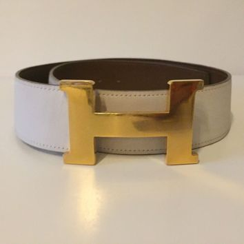 Authentic Hermes Constance Large H 42mm Buckle Size 72 White Brown Leather Belt