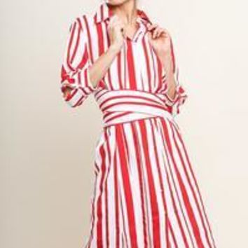 Striped 3/4 Sleeve Collared Button Up Midi Dress