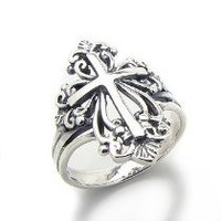 Sterling Silver Victorian Style Open Cross Ring(Sizes 4,5,6,7,8,9,10)