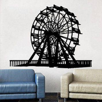 Ferris Wheel Wall Decals Amusement Park Poster Design Childrens Decor Kids C536