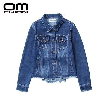 New Fashion Solid Epaulet Denim Jacket Turn-down Collar Flayed Single Breasted Women Jacket