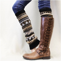 Leg Warmers,  GEO GEM, knit, boots, cuffs, socks, aztec,fall,winter, knee,  Browns/blacks | LW10