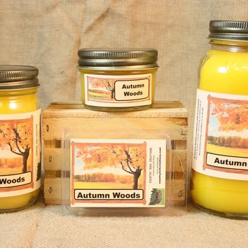 Autumn Woods Candle and Wax Melts, Nature Scent Candle, Highly Scented Candles and Wax Tarts, Thanksgiving Candle, Fall Scent Candle