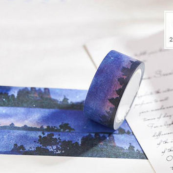 deep blue night washi Masking tape 10M beautiful night sticker tape water colored night ink painting night fancy night decor tape gift
