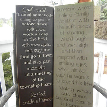 So god made a farmer 2 extra large Sign 12x30 Primitive Typography  subway sign
