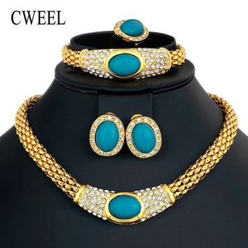 CWEEL Jewelry Sets Vintage Turkish Women African Beads Jewelry Set Dubai Indian Wedding Jewelry Sets Gold Color Jewellery Set