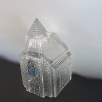 Vintage Clear Glass Church With Steeple and Faux Stained Glass