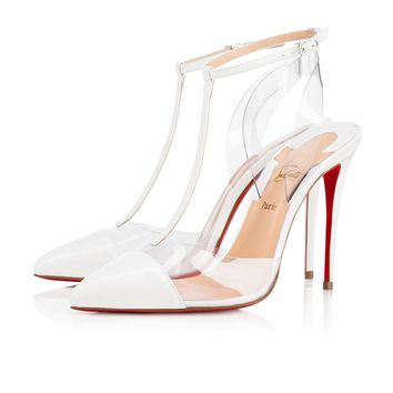 Christian Louboutin Cl Nosy Latte/transp Patent Leather 18s Bridal 1180359h154
