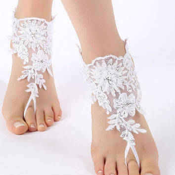 Free Ship white, flexible ankle sandals,  laceBarefoot Sandals, french lace, Beach wedding barefoot sandals