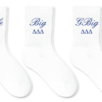 Custom Printed Sorority Crew Socks - Little Big GBig Set of 3 Pairs