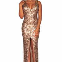 Gold Sequined Front Slit Padded Sleeveless Maxi Gown