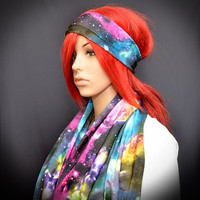 Colorful infinity scarf with galaxy print with matching headband