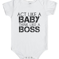 Act Like A Baby-Unisex White Baby Onesuit 00