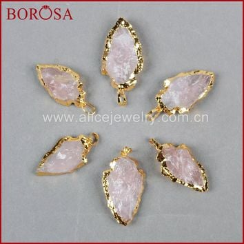 BOROSA Drusy Gold Color Arrowhead Raw Natural Pink Quartz Connector Pendant Bead for Jewelry G696