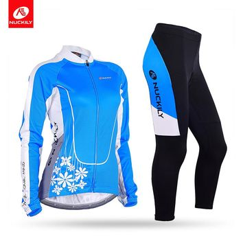 NUCKILY Spring/Autumn Bicycle Jersey Set Women Flower Pattern Long Sleeve Bule Cycling Bodysuit With Foam Pad Tights  GC001GD001