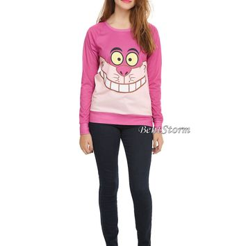 Licensed cool Disney Cheshire Cat Alice in Wonderland Ladies Long Sleeve Pullover Top JRS S-L