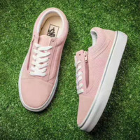 Vans old skool Casual Zipper Shoes Purple Soles  Women Cloth Shoes Pink G-CSXY