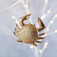 Gilded Glass Animal Ornament - Crab