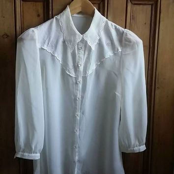 Lace blouse size 8 vintage blouse peterpan collar cream shirt ladies top long sleeves small tops sheer shirts work Dolly Topsy Etsy UK
