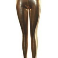 Yellow Gold Shiny Liquid Leggings Full Length $13.90 - $22.95