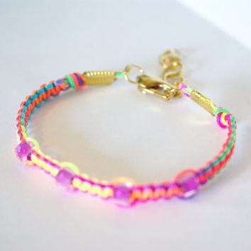 Neon Multi-Colored Friendship Bracelet with Pink Beads and Gold Clasp -Rainbow Colored
