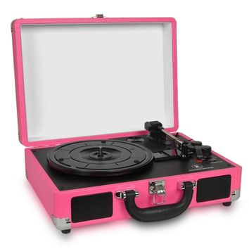 Innovative Technology ITVS-550BT-PK 3-Speed Vintage Bluetooth Suitcase Turntable (Pink)