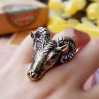 Vintage Personalized Goat Animal Ring at online cheap vintage jewelry store Gofavor