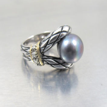 Vintage Sterling Diamond Pearl Ring, 14K YG Diamond Tahitian Gray Grey Pearl Statement Ring, Unique Engagement Ring, Size 7, 14K 925 TH MC