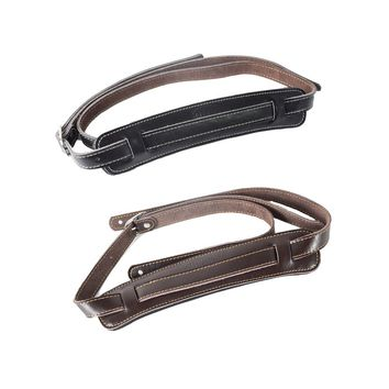 Brown and black Cow Leather Padded Guitar Strap Soft Durable Adjustable Soldiers Thicken Electric Acoustic Guitar Bass Belt