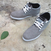 Gray leather custom shoes Marapulai Sneakers grey suede unisex handmade Tigo high