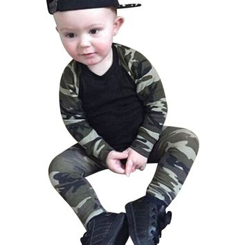 0-24M Autumn Spring Newborn Kids Camouflage set Baby Boys Long Sleeve Clothes T-shirt Tops + Pants Outfit Set