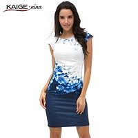 Women Bodycon Dress Women Clothing Chic Elegant Sexy Fashion O-neck Print Dresses