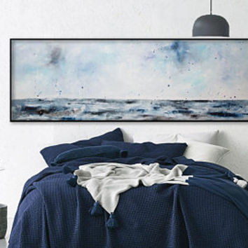 Ocean sunset painting canvas seascape, Aqua blue gray teal coastal wall art - over bed, dining room, sofa or oversized for a sectional