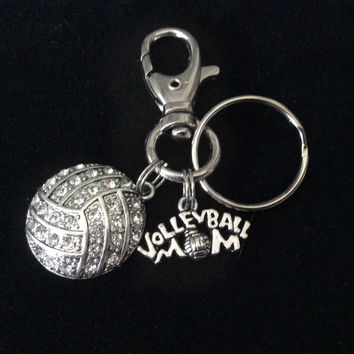 Volleyball Mom Key Chain Siver Crystal Volleyball Charm Silver Key Ring Gift Inspirational Meaningful
