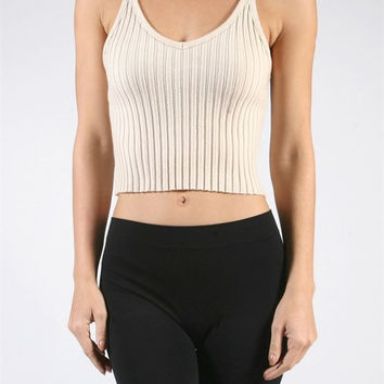 Twisted Strap Ribbed Crop Top - Taupe