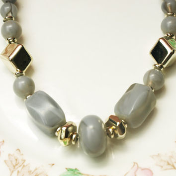 Plastic Bead Necklace, Beaded Necklace, Metallic, Marbled Plastic, Grey Beads, Graduated Necklace, Chunky Beads, Two Tone - 1970s / 1980s