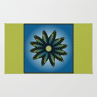 Fan Flower Series Blue Rug by Ramon Martinez Jr