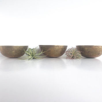 Set of 3 Vintage Etched Brass Bowls, Instant Collection of 3 Etched Brass Bowls