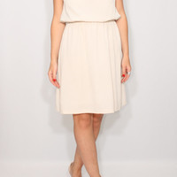 Light beige dress Short dress chiffon bridesmaid dress Keyhole dress