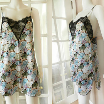 Vintage Floral Pastel Nightie Lingerie / Satin Slip with Black Lace / Size Medium